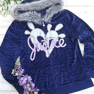 💜Navy Blue Animal Print Justice Jacket. Sz 20💜
